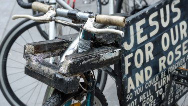 The shackle of steel and concrete used to  prevent the bikes being moved.