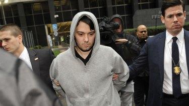 Martin Shkreli exits federal court in New York on December 17.