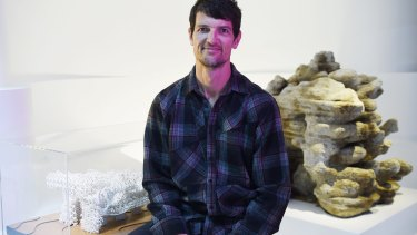 James Gardiner designed 3D-printed coral scaffold to encourage coral reef growth. His designs are part of an exhibition at the Powerhouse Museum.