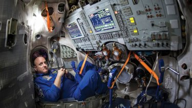 Scott Kelly inside a Soyuz simulator ahead of his mission. This capsule would be his escape pod in case of a disaster.