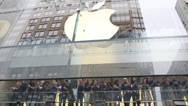 Staff at the Sydney store of Apple, one of many multinationals criticised for paying too little tax in Australia.