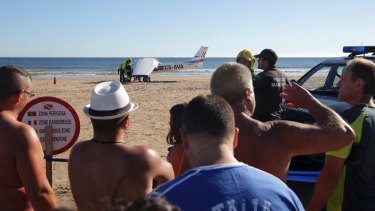 Emergency workers at Sao Joao beach in Portugal.