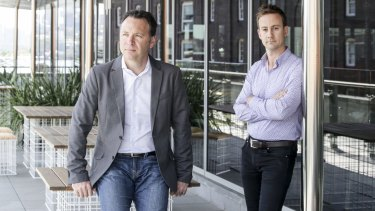 Ben Styles, head of financial services strategic partnerships at Xero, right, with managing director Trent Innes.