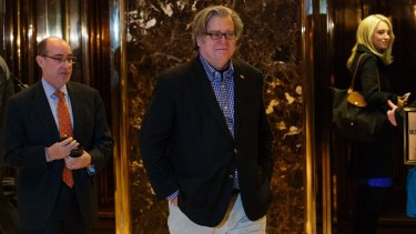 Steve Bannon leaves Trump Tower on Friday.