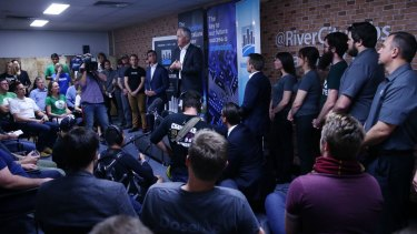 Mr Turnbull and his flock at River City Labs in Brisbane on Wednesday.