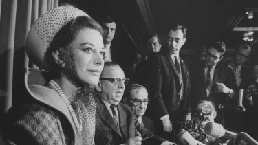 Hedy Lamarr at a press conference.