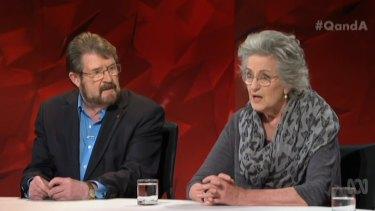 Senator Derryn Hinch (left) with panellist Germaine Greer.