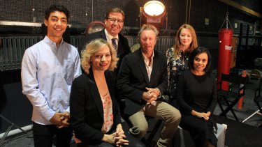 Deputy Premier Troy Grant with actors, from left, Hunter Page-Lochard, Adrien Pickering, Bryan Brown, Mandy McElhinney and Miranda Tapsell.