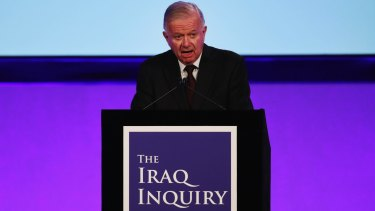 Sir John Chilcot presents his report at the Queen Elizabeth II Centre in London.