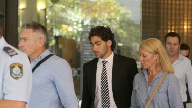 Andrew Wem and Jack Weston, family members of Mona Vale crash victims, leave court after reading victim impact statements.