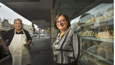 Katerina Angelopoulos, a long standing member of the ALP in the seat of Wills, outside the Pantheon Cafe in Brunswick.