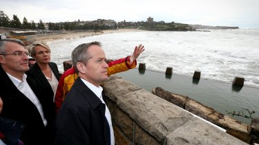 Mr Shorten, Deputy Opposition Leader Tanya Plibersek and shadow attorney-general Mark Dreyfus at Coogee Surf Life Saving Club in Sydney.