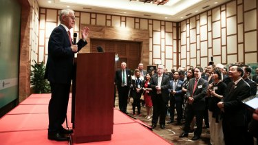 Prime Minister Malcolm Turnbull addresses a business leaders in Danang for the APEC summit.