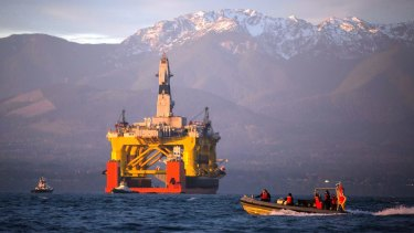 A semi-submersible drilling unit arrives in Port Angeles, Washington.