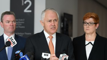 Prime Minister Malcolm Turnbull with Minister for Defence Industry Christopher Pyne (left) and Defence Minister Marise Payne at the 2017 Pacific International Maritime Exposition in Sydney on Tuesday