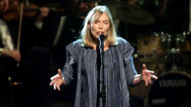 Joni Mitchell, 72 this year, pictured during a television tribute to her in 2000.