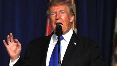 President Donald Trump speaks at Fort Myer in Arlington Virginia.