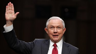 US Attorney-General Jeff Sessions is sworn-in on Capitol Hill prior to testifying on Tuesday.