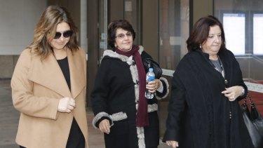 Eddie Obeid's wife Judith Obeid (centre) arrives at court.