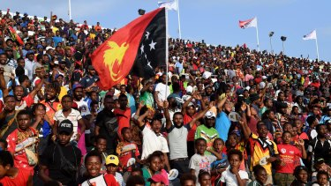 Pumped: A boisterous home crowd enjoys the occasion in Port Moresby
