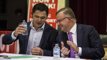 The Greens' Jim Casey and Labor's Anthony Albanese at a Stop WestConnex meeting.