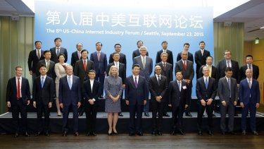 Chinese President Xi Jinping, front centre, told executives at Microsoft's main campus in Redmond, Washington in 2015, China advocated co-operation in development of the internet in line with China's 'national realities'.