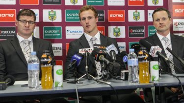 Money talks: Manly halfback Daly Cherry-Evans flanked by club CEO Joe Kelly (left) and chairman Scott Penn, has become the highest-paid player in rugby league.