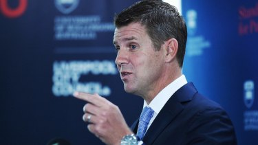 NSW Premier Mike Baird at the official announcement of the establishment of the University of Wollongong's South Western Sydney Campus