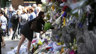 Outpouring of support: Floral tributes at Martin Place on Wednesday.