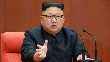 Kim Jong-un speaking during a meeting of the central committee of the Workers' Party of Korea in Pyongyang on Saturday.