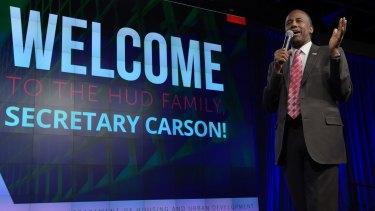 Housing a Urban Development Secretary Ben Carson speaks to HUD employees in Washington.