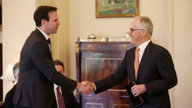 Prime Minister Malcom Turnbull with senator Matthew Canavan at Friday's swearing-in ceremony.