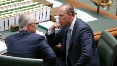 Prime Minister Malcolm Turnbull and Immigration Minister Peter Dutton during question time on Thursday.