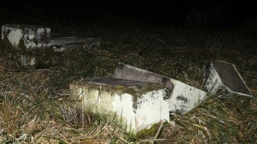 Desecrated tombstones at Sarre-Union Jewish cemetery, in France, on Sunday.