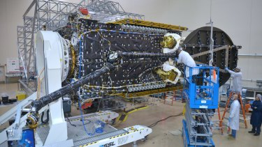 "The NBN's 6.4 tonne ""Sky Muster"" satellite during the construction phase."