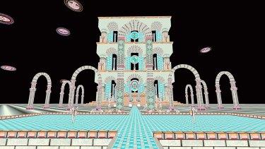Still from Ixian Gate, 2015, Jess Johnson's virtual reality animation.