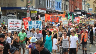 Concerned residents took to the streets of Newtown to protest the proposed development earlier this month.