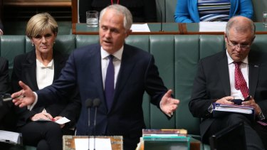 Mr Turnbull with Julie Bishop and Scott Morrison.