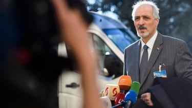 Syria's chief negotiator Bashar Ja'afari talks to the media in Geneva on Saturday.