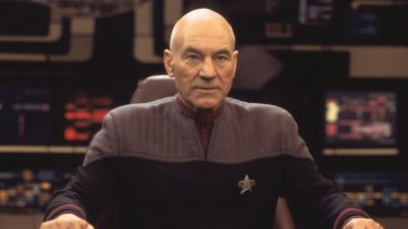 Patrick Stewart as Captain Jean-Luc Picard in the <i>Star Trek: Nemesis</i> film.