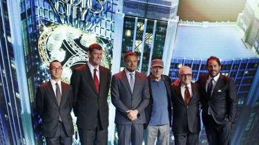 James Packer with his Macau business partner Lawrence Ho (left) and Hollywood stars Leonardo DiCaprio, Robert De Niro, director Martin Scorsese and producer Brett Ratner.