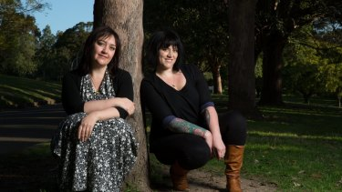 Book reviewer and founder of A Thousand Words Festival, Bec Kavanagh, right, and author, Emily Maguire, left, in Sydney.
