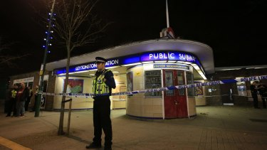 Police cordon off Leytonstone Underground Station in east London.
