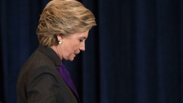 Democratic presidential candidate Hillary Clinton walks off the stage after speaking in New York.
