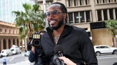 West Indies cricketer Chris Gayle outside court.