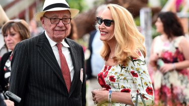 Rupert Murdoch with his bride, Jerry Hall.