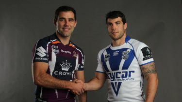Rivals: The Melbourne Storm's Cameron Smith and Canterbury rake Michael Ennis at the 2012 NRL Grand Final Breakfast.