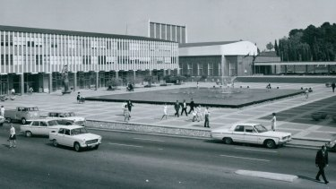 A bustling Civic Square in 1967.