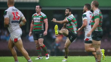 Greg Inglis of the Rabbitohs attempts to kick a field goal ... with his team down by two points.