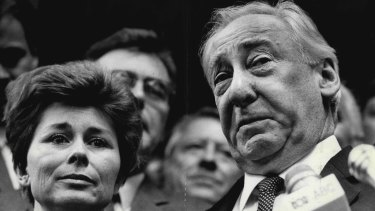 Lionel Murphy and his wife, Ingrid, moments after he was found not guilty at his second trial.